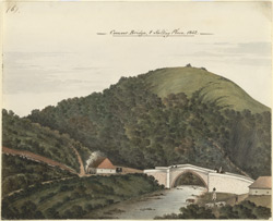 Wooded hill with river, bridge and bungalow in foreground, Coonoor